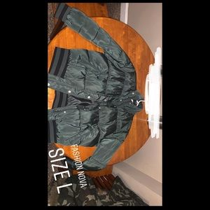 Olive green puff jacket